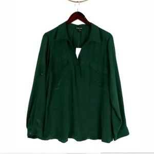 NWT Eileen Fisher green silk crepe de chine top